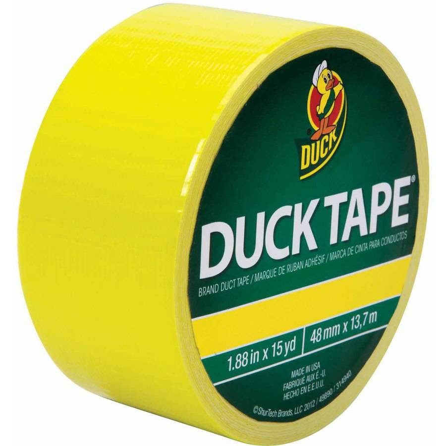 "Duck Tape Colored Duct Tape, 1.87"" x 15 Yards, Neon Yellow"