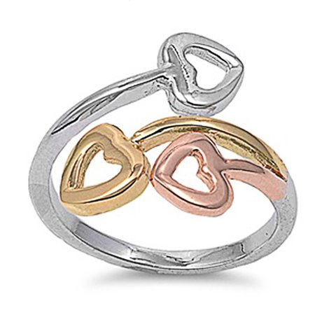 - Men's Sterling Silver Tri - Color Heart Ring 22mm ( Size 5 to 11)