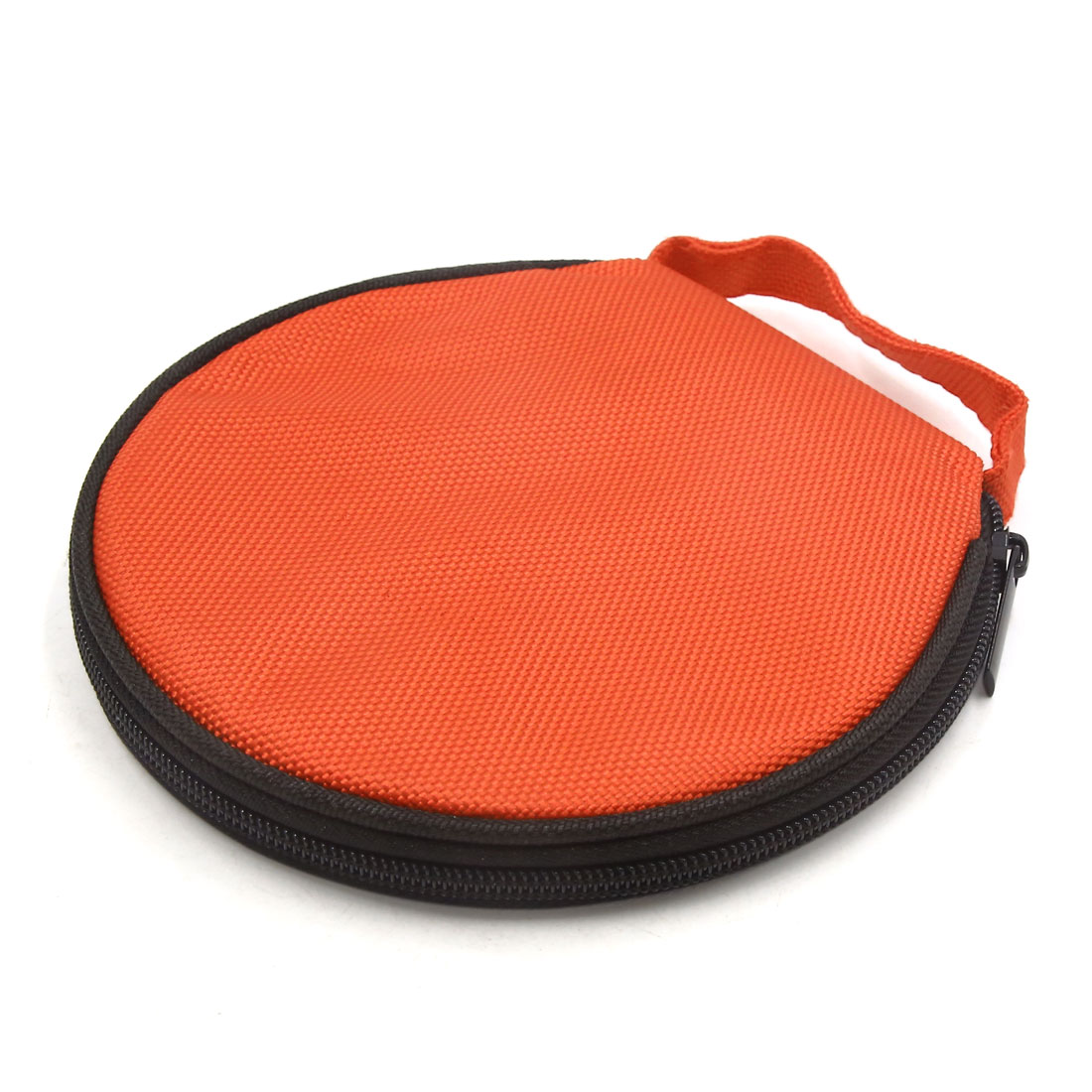 Orange Zipper Closure Round CD Disc Holder Bag Storage Carry Case Wallet for Car - image 3 de 3