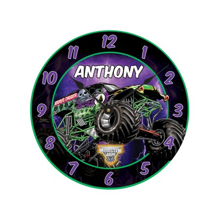 Childs Clock Personalized (Personalized Monster Jam Grave Digger Wall Clock)