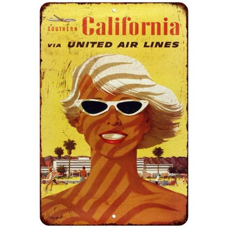 United Airlines Southern California Vintage Look Reproduction Sign 8X12 8120467