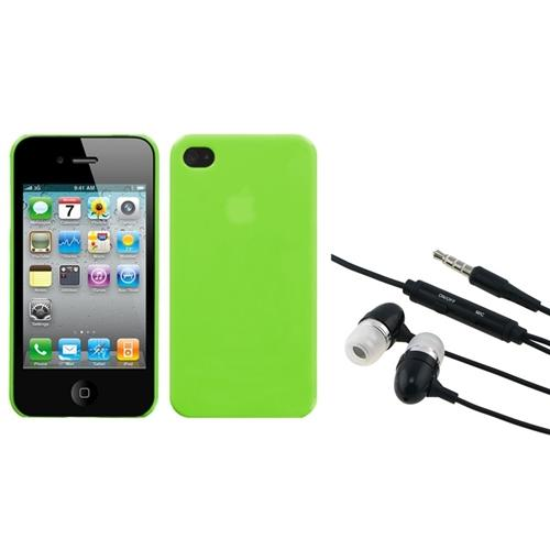 Insten Natural Apple Green Back Case For iPhone 4 4S + 3.5mm Handsfree Headset