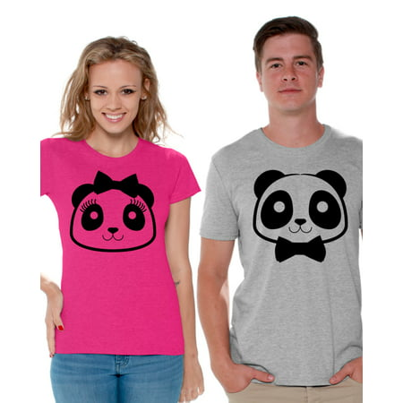Awkward Styles Couple Shirts Panda Couple Matching Shirts Couples Panda Shirts for Valentine's Day Cute Panda Bear T-Shirts for Couples Panda Face Couple Matching Shirts Anniversary Gifts for Couple for $<!---->