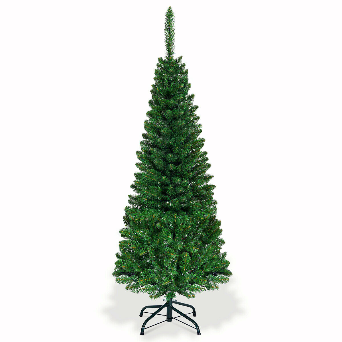 4.5 ft Pre-Lit Hinged Artificial Fir Pencil Christmas Tree ...