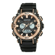 Men's Sport Round Watch, Black and Rose Gold