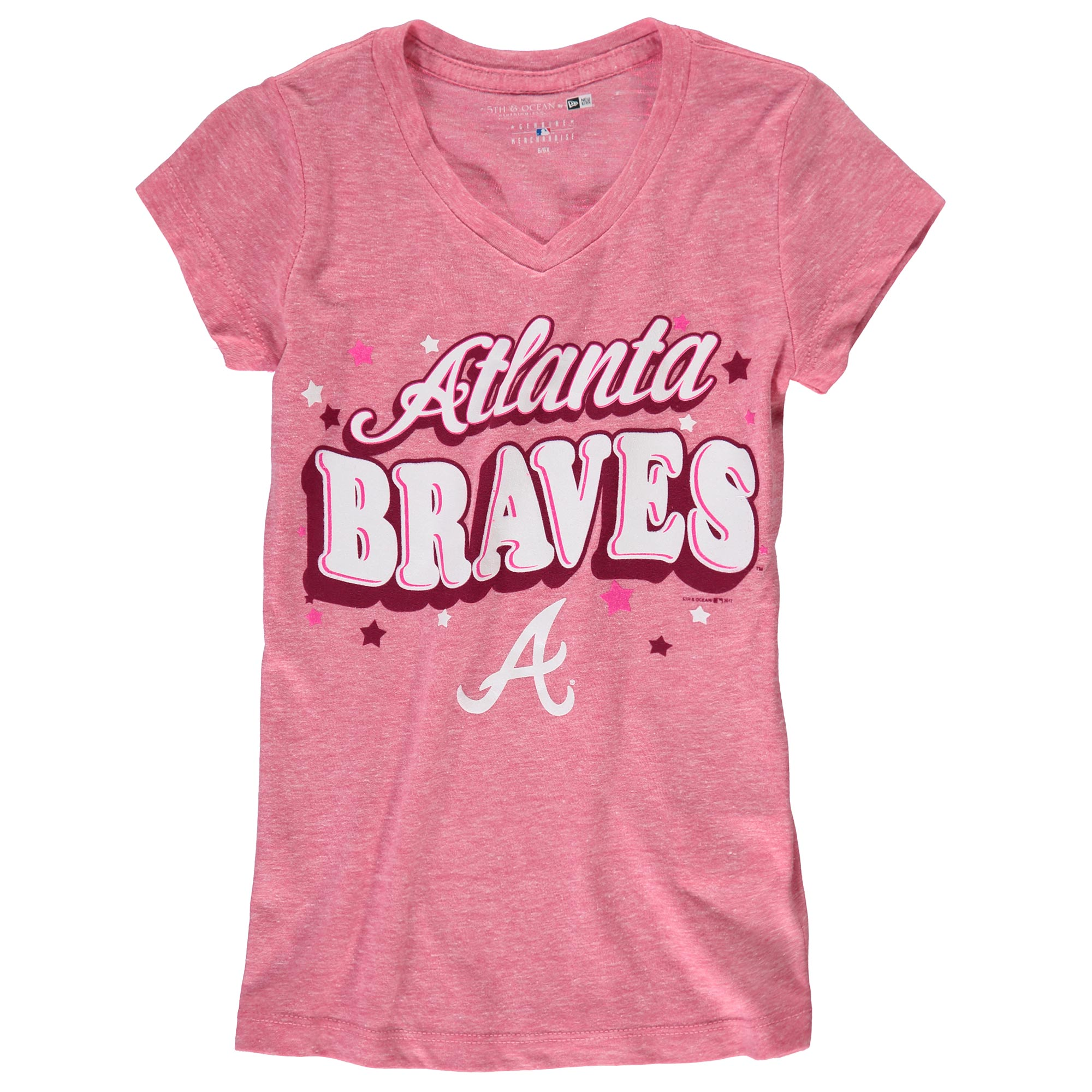 Atlanta Braves 5th & Ocean by New Era Girls Youth Stars Tri-Blend V-Neck T-Shirt - Pink