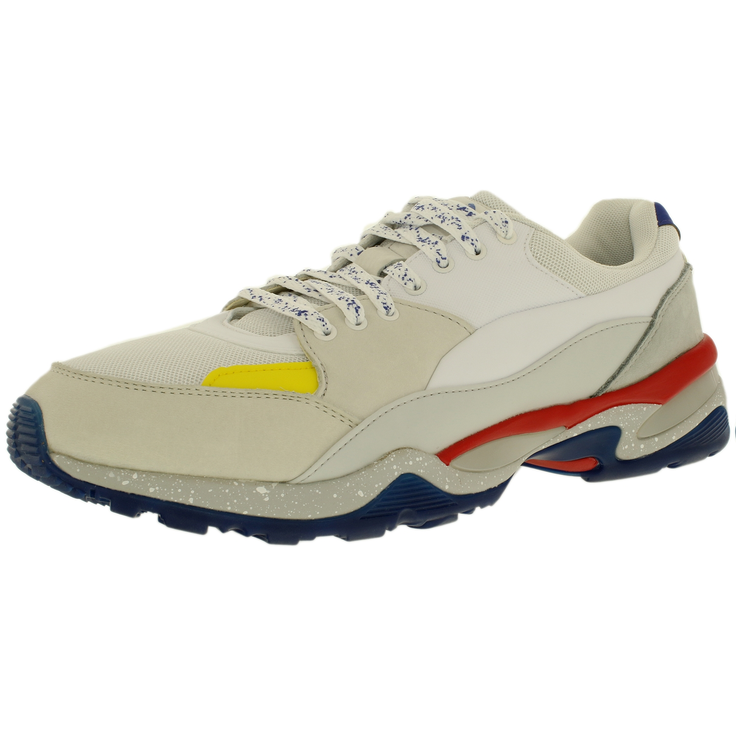 Puma Men's Mcq Tech Runner Lo White Glacier Gray Flame Scarlet Low Top Fabric Tennis Shoe 14M by Puma