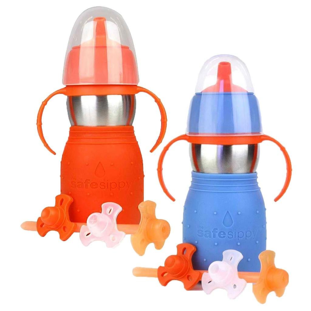 The Safe Sippy 2 2-in-1 Sippy to Straw Bottle, 2 Pack, Orange/Blue