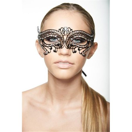 Kayso K2005BK Black Laser Cut Masquerade Mask with Clear Rhinestones (Black Lace Masquerade Mask)