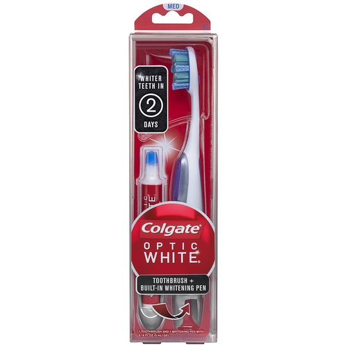 Colgate Optic White Medium Toothbrush + Built-In Whitening Pen, 2 pc
