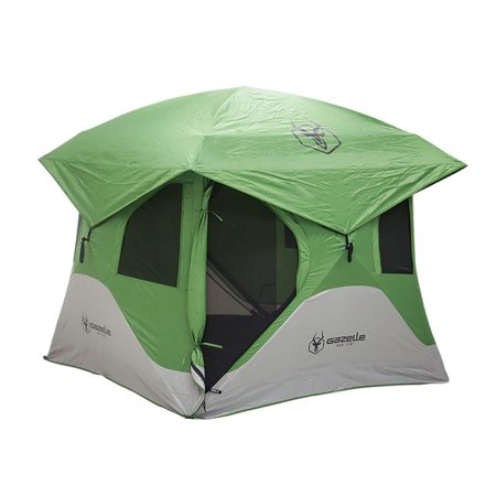 Gazelle Tents T3 6' Heavy Duty Pop Up Hub 3 Person Outdoor Camping Tent, Green