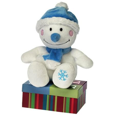 Fiesta Sitting Holiday Snowman w Scarf & Hat 8.5