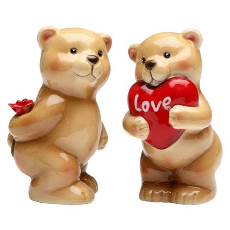 Valentines Day Heart Love Bear Salt & Pepper Shaker S/P, Measures 3 1/2 inches x 1 1/2 inches By Appletree Designs Cosmos (Fairmont Designs Shaker)