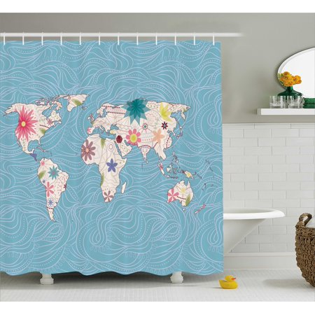 Hippie shower curtain world map with floral blossom continent hippie shower curtain world map with floral blossom continent figures ecology peace nature design gumiabroncs Image collections