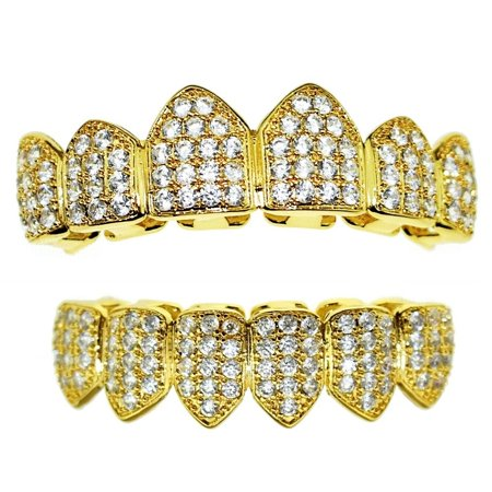 18K Gold Plated Bling Grillz Set CZ Upper Top And Bottom Lower Teeth Cubic Zirconia Hip Hop - Fake Teeth Grillz