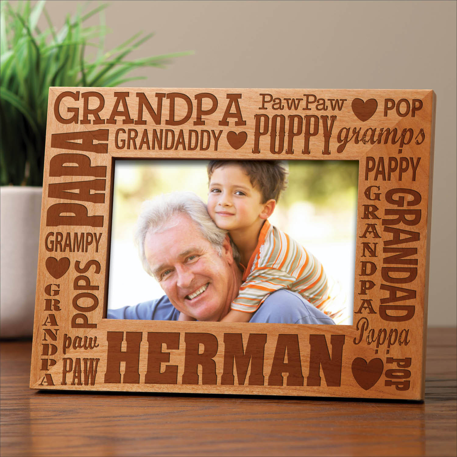 Personalized Words For Grandpa Wood Frame