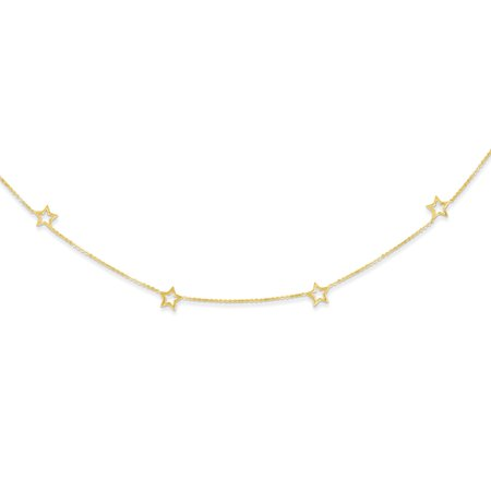 Solid 14k Yellow Gold Star 2in Extension Pendant Necklace Charm Chain 16 -  AA Jewels