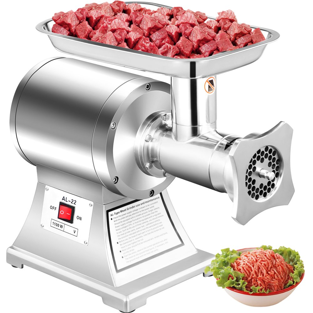 VEVOR 110V Commercial Meat Grinder 550Lbs/hour 750W 190 PRM Sausage Stuffer Maker 1 HP Stainless Steel Home Kitchen Tool 5 Plates and 2 Cutting Knives, 550LB, Sliver