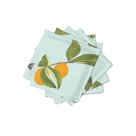 - Cocktail Napkins Chinoiserie Asian Insprired Mint Fruit Garden Tree Set of 4