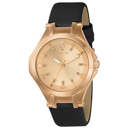 Invicta 23257 Womens Gabrielle Union Rose Gold Dial Black Leather Strap Diamond Watch