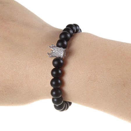 8mm Stone Beads Black White Charm Couples Beaded Bracelet Womens Fashion Jewelry (Black) Amethyst White Charm Bracelet