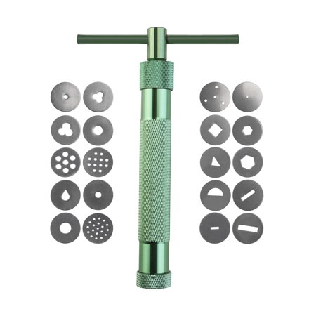 Portable Polymer Clay Gun Extruder Sculpey Sculpting Tool with 20 Interchangeable Discs (Green)