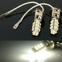 2x H3 28-LED White Fog Lights DRL Driving Light Bulbs 12V DC Car/Truck/Van/SUV