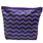 Girls Purple Glitter Sequin Adorned Chevron Wave Dance Tote Bag