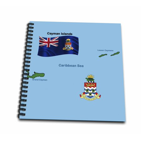 3dRose Flag and Map of Cayman Islands shoeing both Grand Cayman and Lesser Caymans and the Coat of Arms - Memory Book, 12 by 12-inch
