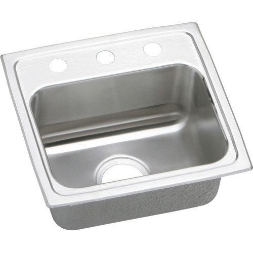 Elkay LRQ17163 Gourmet Lustertone Stainless Steel Single Bowl Top Mount Quick-Clip Sink with 3 Faucet Holes