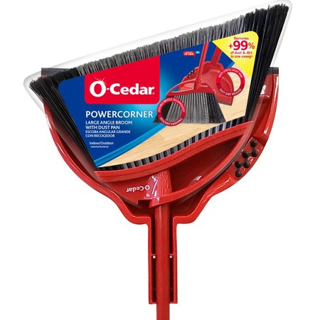 O-Cedar Power Corner Multi Surface Angle Broom With Dust Pan