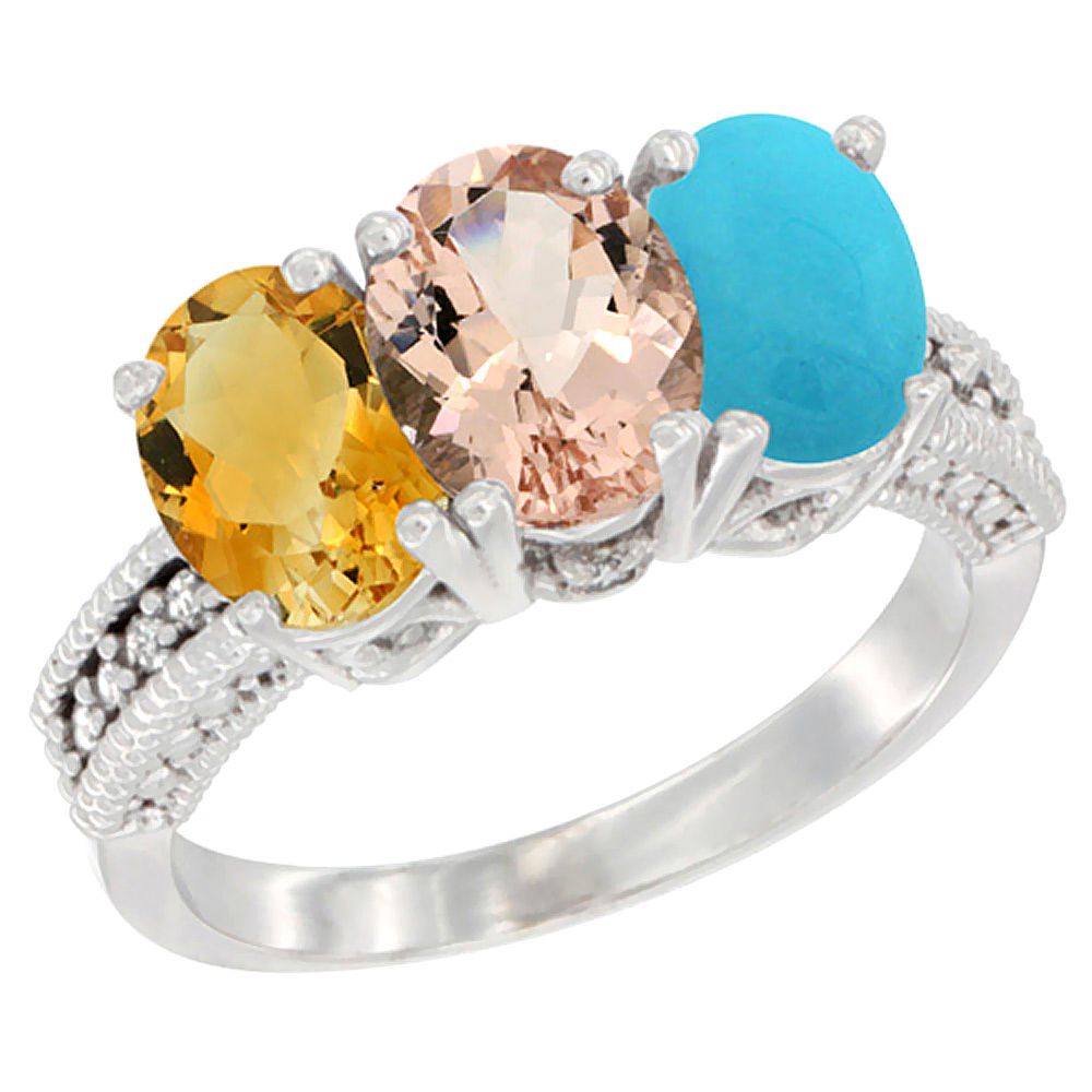 10K White Gold Natural Citrine, Morganite & Turquoise Ring 3-Stone Oval 7x5 mm Diamond Accent, sizes 5 10 by WorldJewels