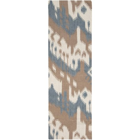 2.5' x 8' Urban Drip Chocolate Brown and Blue Hand Woven Wool Area Throw Rug (Wool Hand Woven Chocolate)