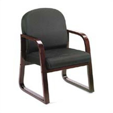 Boss Office Products Molded Mahogany Guest Chair with Sled Base-Black - image 3 of 4