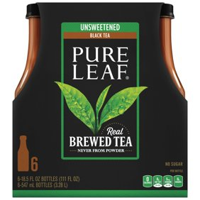 Pure Leaf Unsweetened Iced Tea Real Brewed Black 18 5 Fl Oz 6 Count
