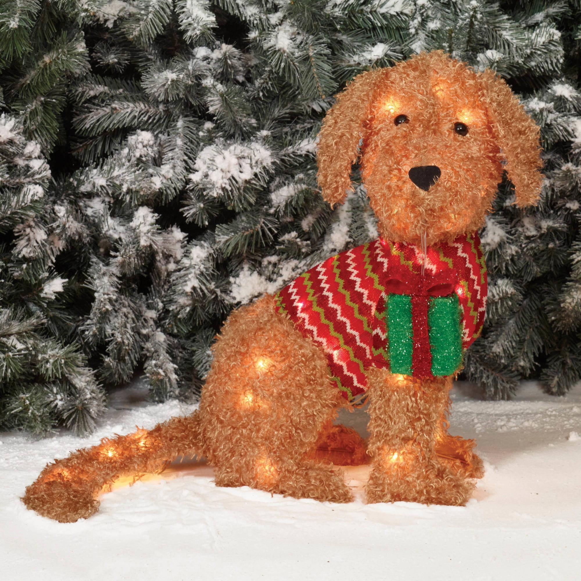 holiday time christmas decor  fluffy doggy sculpture walmartcom