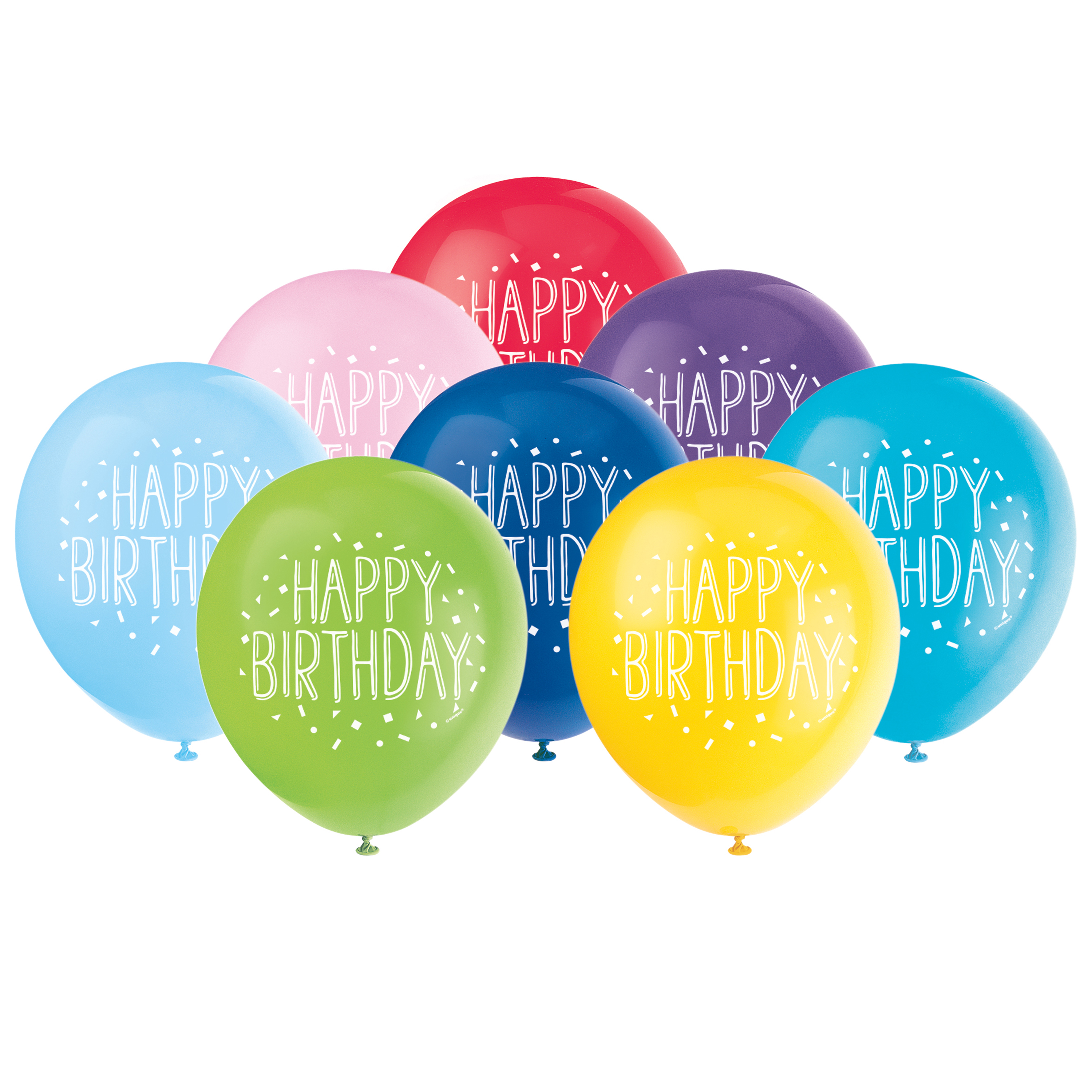 Latex Fun Happy Birthday Balloons, Assorted, 12 in, 8ct