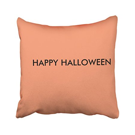 WinHome Cute Simple Fun Happy Halloween Flesh Pink Polyester 18 x 18 Inch Square Throw Pillow Covers With Hidden Zipper Home Sofa Cushion Decorative - Simply Halloween