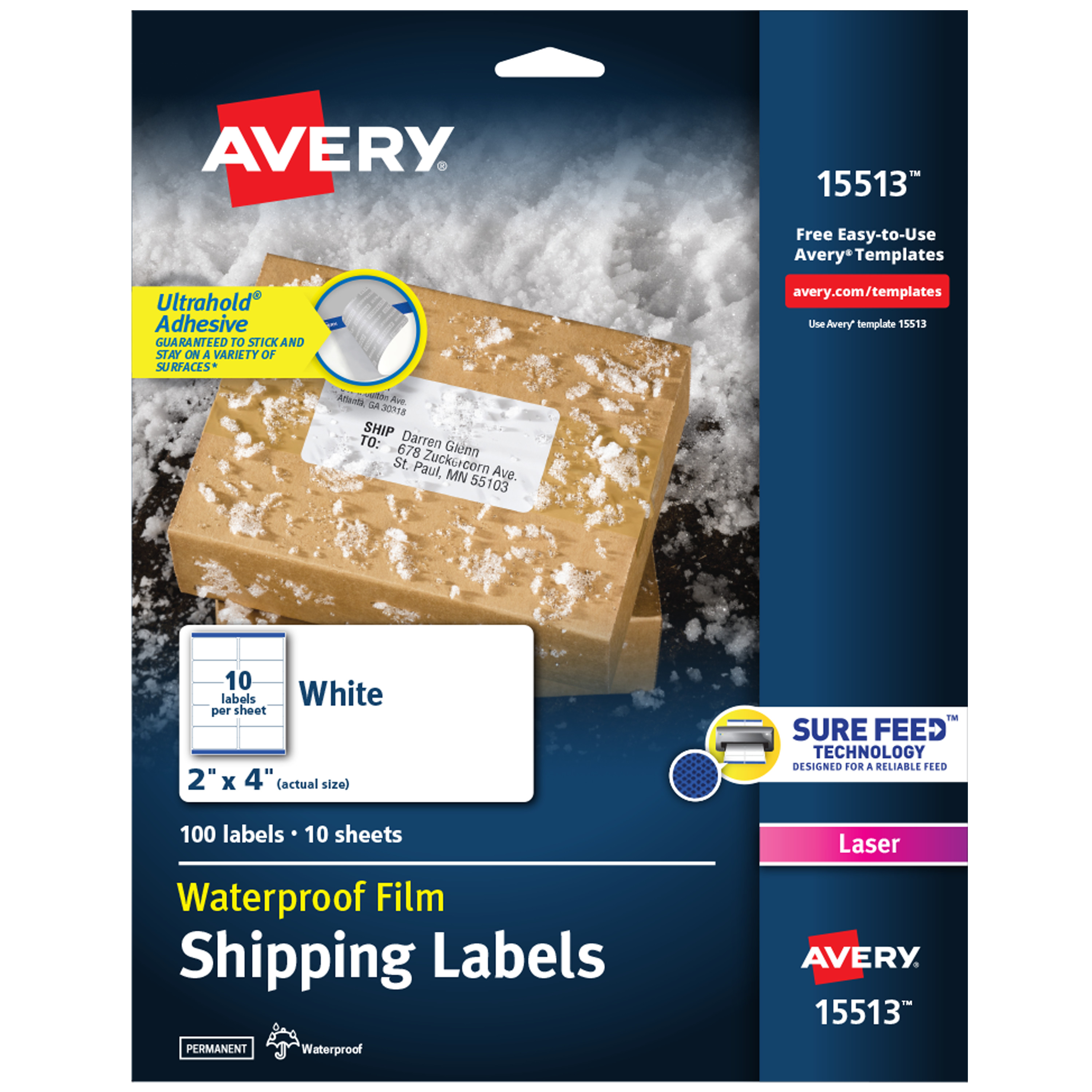 "Avery Waterproof Labels, Sure Feed, 2"" X 4"", 100 Labels"