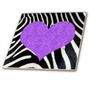 3dRose Punk Rockabilly Zebra Animal Stripe Purple Heart Print - Ceramic Tile, 12-inch