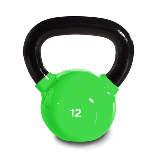 Harvil 12-Pound Cast Iron Green Kettlebell Weight with Ergonomically Rounded Handles and Pound Markings.