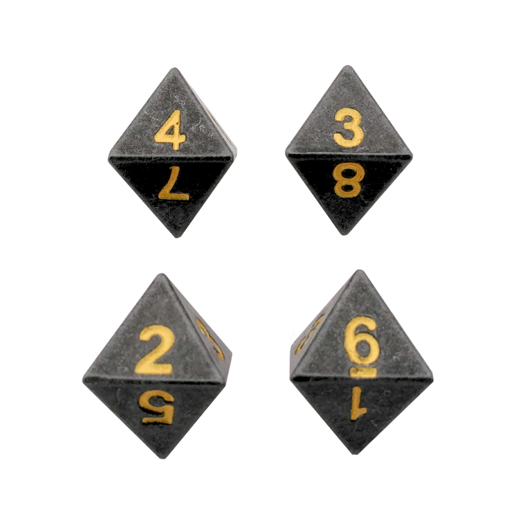 4 Pack of D8 - Gunmetal Gray Color with Gold Numbers Metal Dice -