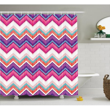 Chevron Decor Shower Curtain Set, Large Chevron Motifs In Different Colors With Variable Angles Parallel Lines Groovy Theme Art, Bathroom Accessories, 69W X 70L Inches, By - Groovy Theme