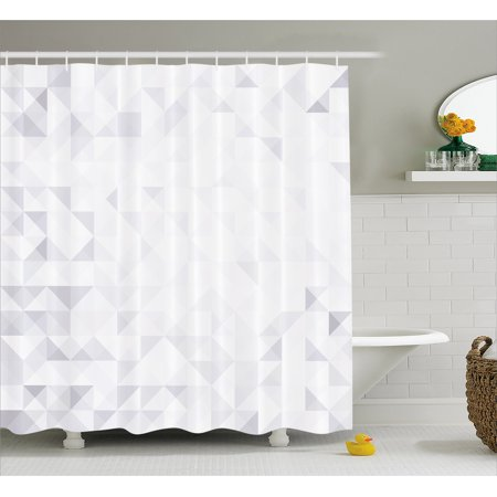 Grey And White Shower Curtain Geometric Poly Artsy Triangles Abstract Pattern In Many Shades Of