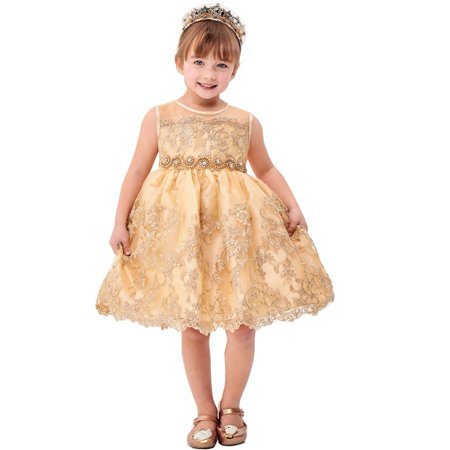 - Little Girls Champagne Flower Embroidery Ribbon Special Occasion Dress