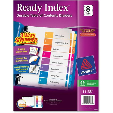 Avery Ready Index Customizable Table of Contents Classic Multicolor Dividers - 8 x Divider(s) - Printed Tab(s) - Digit - 1-8 - 8 Tab(s)/Set - 8.5