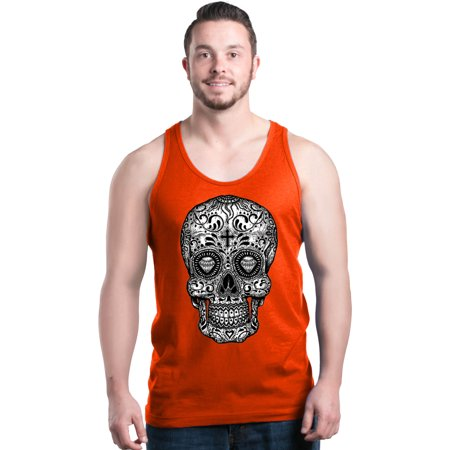 Shop4ever Mens Black And White Sugar Skull Day Of The Dead Graphic
