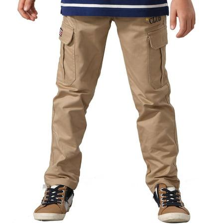 leo&lily big boys' husky elastic waist dobby twill cargo pants 10 khaki