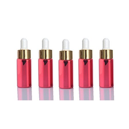 10 Red Sets Assorted 5ml UV Coated Glass Dropper Bottles Refillable Medicine Dropper Bottles with Gold Caps and White Bulb Glass Pipette Glass Medicine Bottle