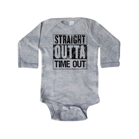 3250f6824 Inktastic - Straight Outta Time Out Long Sleeve Creeper - Walmart.com